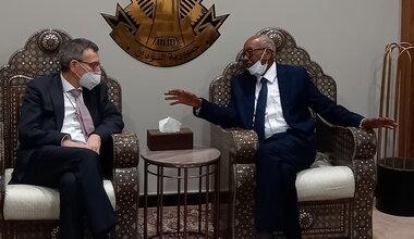 SRSG PErthes and AMB. Al Sheikh at Khartoum airport