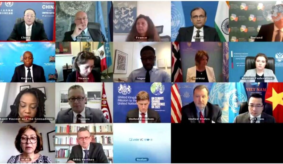 Member of the Security Council in a virtual meeting