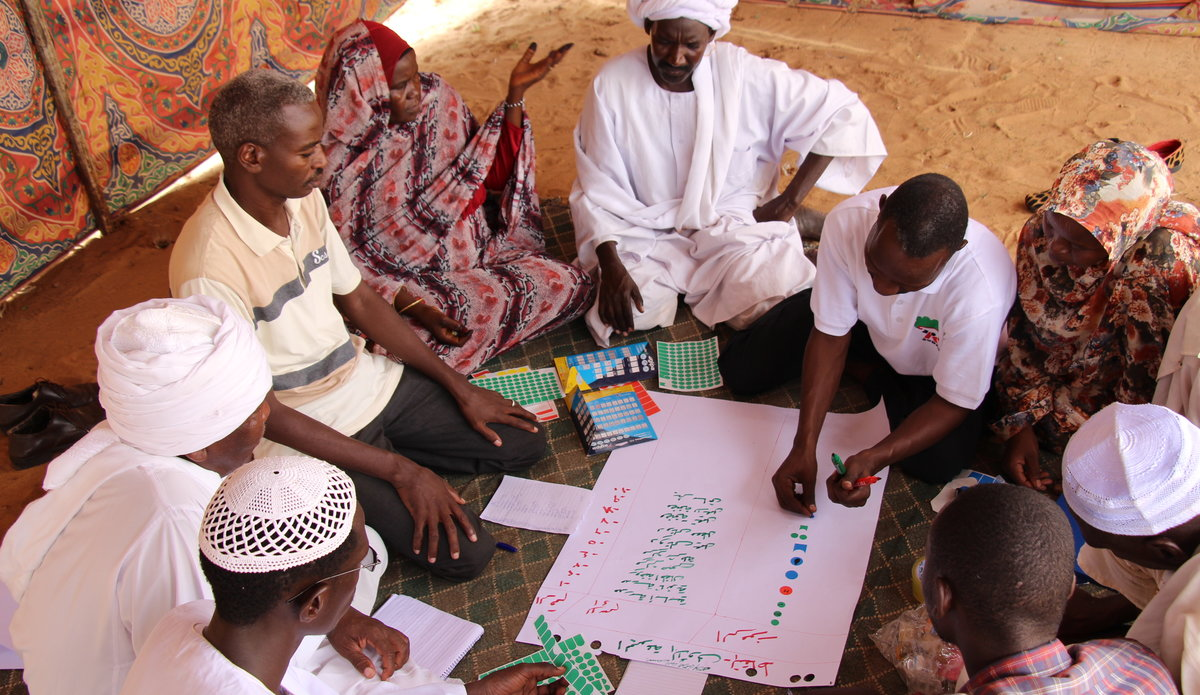 Wadi El Ku Catchment Management Project 2019, community members participating in mapping their natural resources in North Darfur.  Credit © UNEP